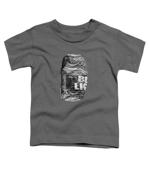 Crushed Blue Beer Can On Plywood 78 In Bw Toddler T-Shirt