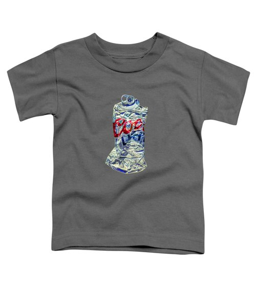 Crushed Silver Light Beer Can On Bw Plywood 80 Toddler T-Shirt