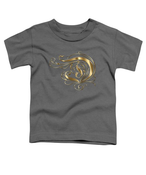 D Ornamental Letter Gold Typography Toddler T-Shirt