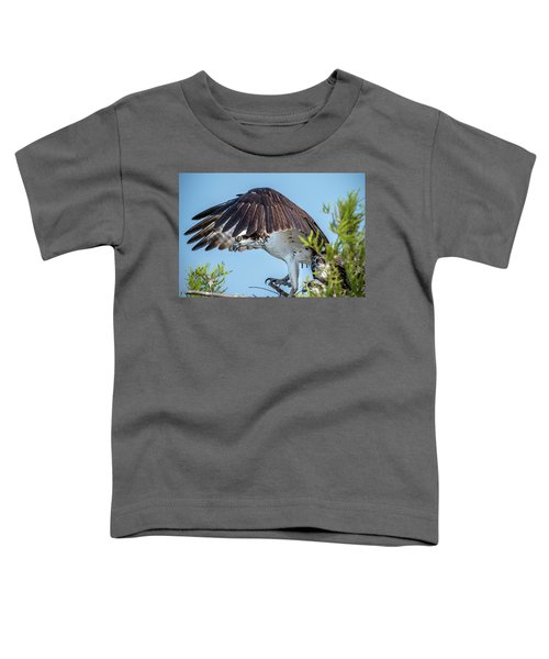 Toddler T-Shirt featuring the photograph Daddy Osprey On Guard by Donald Brown