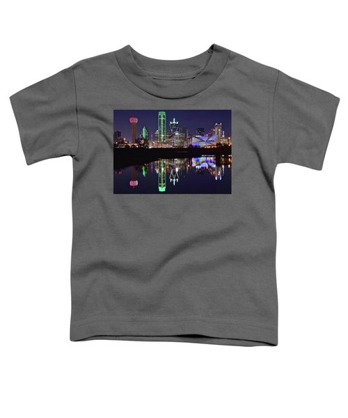 Dallas Reflecting At Night Toddler T-Shirt by Frozen in Time Fine Art Photography
