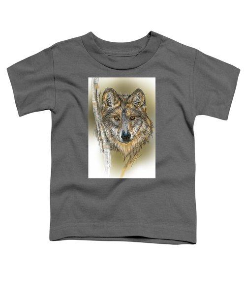 Dark Wolf With Birch Toddler T-Shirt