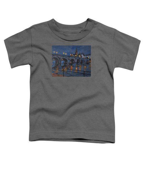 December Lights Old Bridge Maastricht Acryl Toddler T-Shirt by Nop Briex