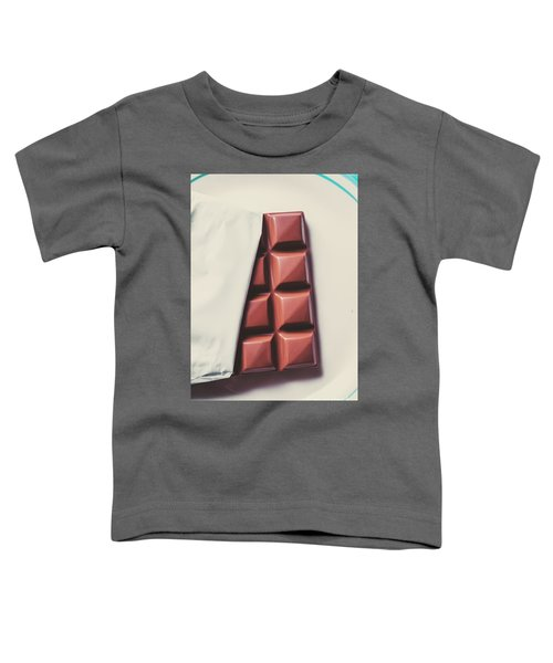Delicious Chocolate Bar In Wrapping On Plate Toddler T-Shirt