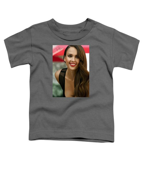 Digital Painting Of Jessica Alba Toddler T-Shirt by Frohlich Regian