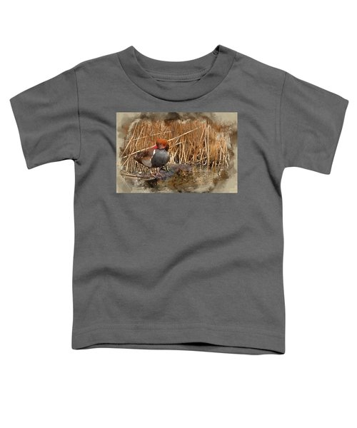 Digital Watercolour Painting Of Beautiful Portrait Of Red Crested Pochard In The Wild Toddler T-Shirt