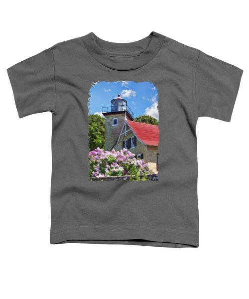 Toddler T-Shirt featuring the painting Door County Eagle Bluff Lighthouse Lilacs by Christopher Arndt