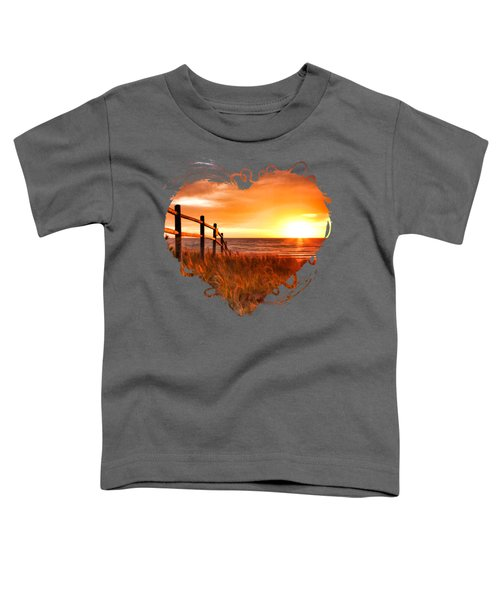 Door County Europe Bay Fence Sunrise Toddler T-Shirt by Christopher Arndt