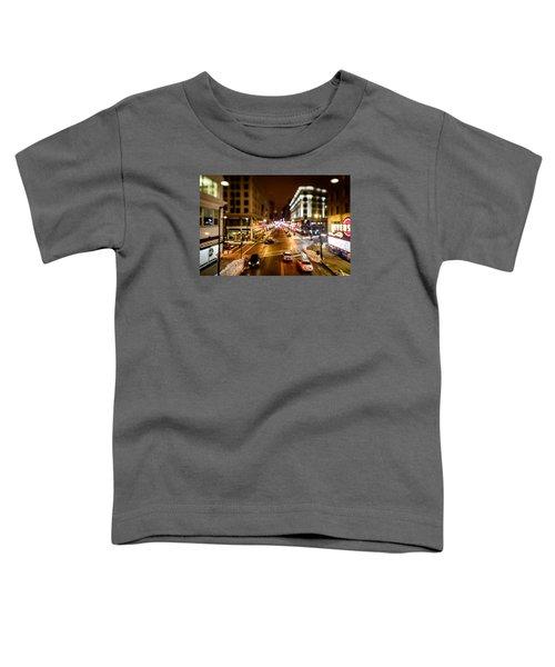 Downtown In The Itty-bitty City Toddler T-Shirt by Randy Scherkenbach