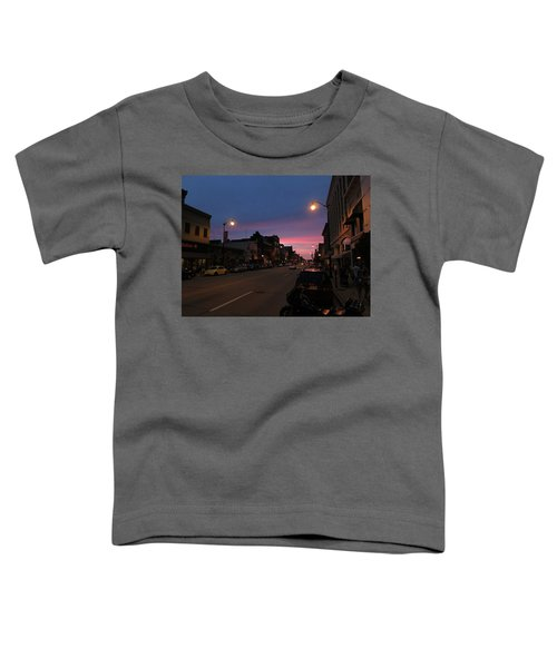 Toddler T-Shirt featuring the photograph Downtown Racine At Dusk by Mark Czerniec