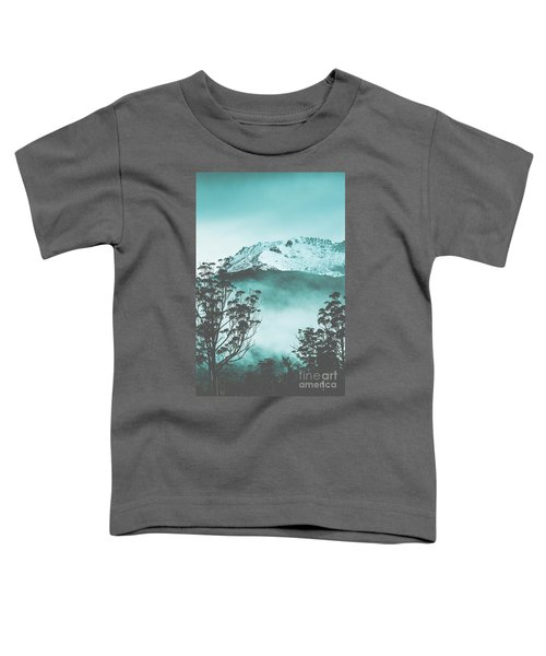 Dramatic Dark Blue Mountain With Snow And Fog Toddler T-Shirt