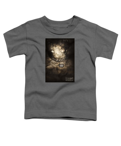 Dramatic Dog Tags And Military Helmet Still Life Toddler T-Shirt