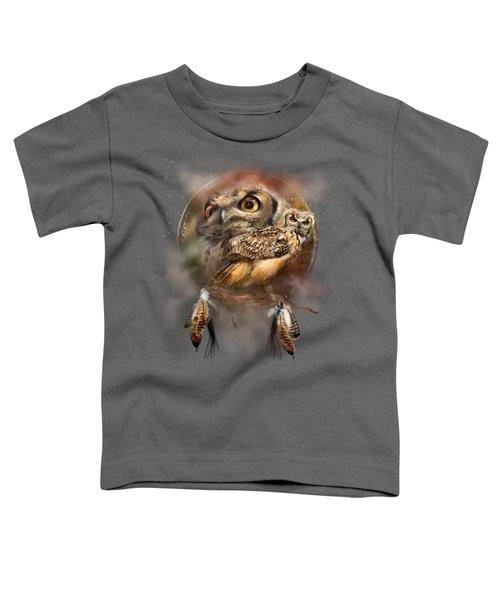 Dream Catcher - Spirit Of The Owl Toddler T-Shirt by Carol Cavalaris