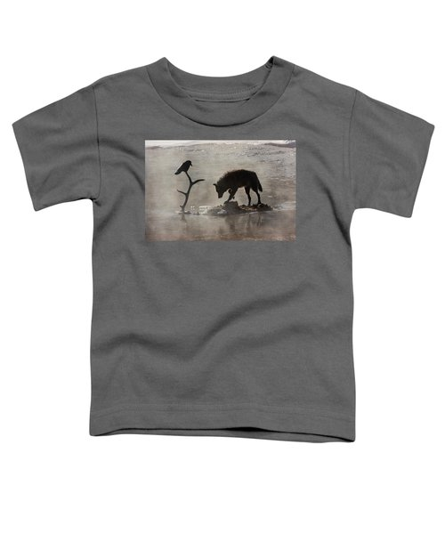 Druid Wolf And Raven Silhouette Toddler T-Shirt