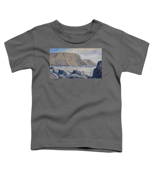 Toddler T-Shirt featuring the painting Duckpool Boulders by Lawrence Dyer