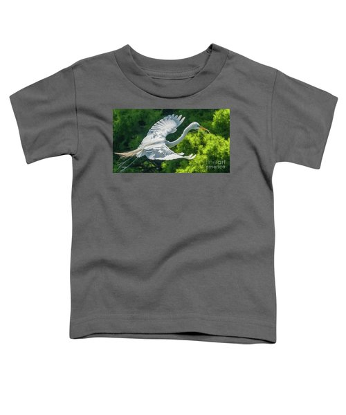 Egret Flying With Twigs Toddler T-Shirt
