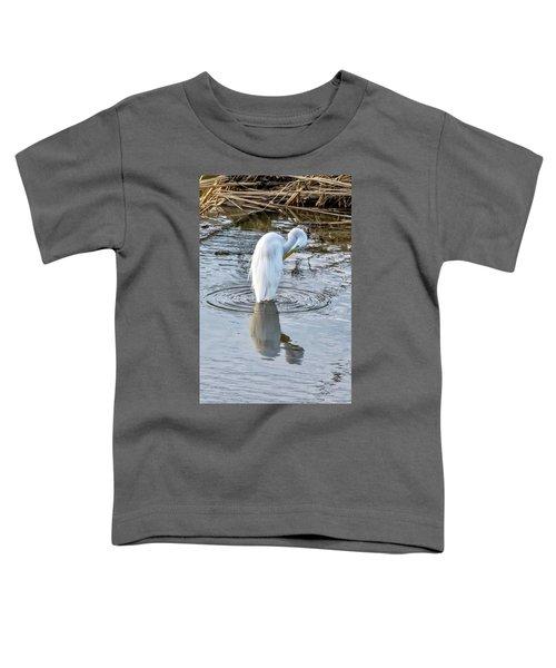 Egret Standing In A Stream Preening Toddler T-Shirt