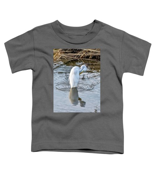 Egret Standing In A Stream Preening Toddler T-Shirt
