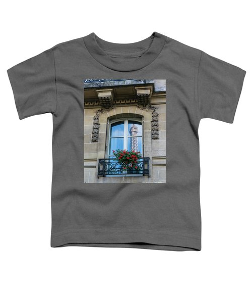 Eiffel Tower Paris Apartment Reflection Toddler T-Shirt by Mike Reid