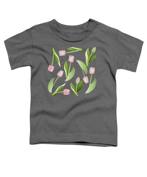 Elegant Chic Pink Tulip Floral Patten Toddler T-Shirt