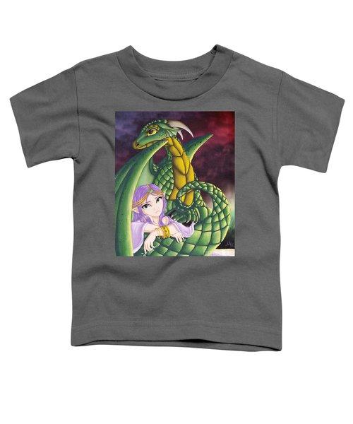 Elf Girl And Dragon Toddler T-Shirt