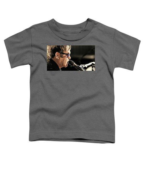 Elton John At The Mic Toddler T-Shirt by Elaine Plesser