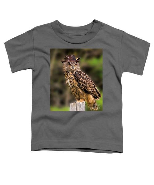 Eurasian Eagle Owl With A Cowboy Hat Toddler T-Shirt
