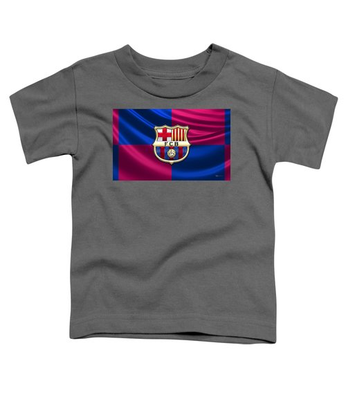 F. C. Barcelona - 3d Badge Over Flag Toddler T-Shirt