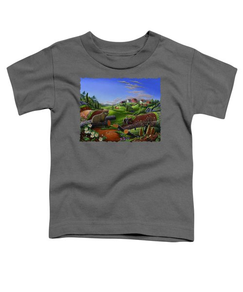 Farm Folk Art - Groundhog Spring Appalachia Landscape - Rural Country Americana - Woodchuck Toddler T-Shirt by Walt Curlee