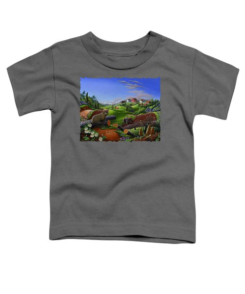 Farm Folk Art - Groundhog Spring Appalachia Landscape - Rural Country Americana - Woodchuck Toddler T-Shirt