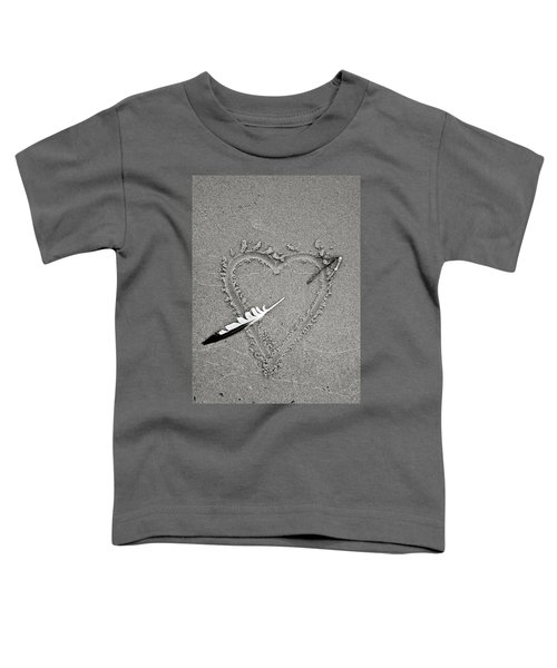 Feather Arrow Through Heart In The Sand Toddler T-Shirt