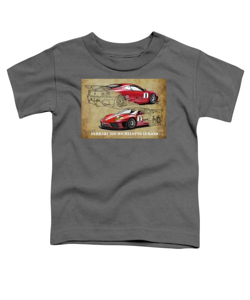 Ferrari 360 Michelotto Le Mans Race Car. Two Drawings One Print Toddler T-Shirt