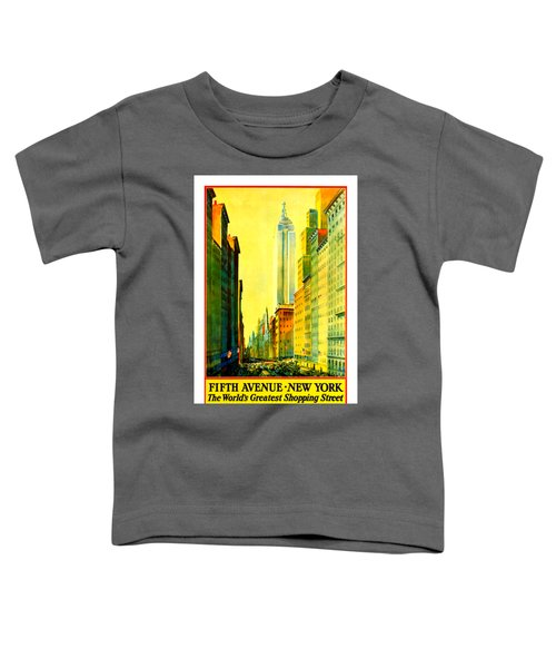 Fifth Avenue New York Travel By Train 1932 Frederick Mizen Toddler T-Shirt by Peter Gumaer Ogden Collection