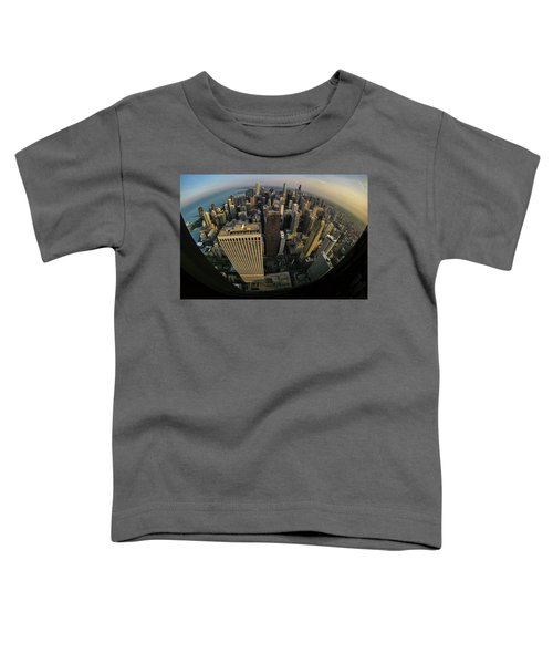 Fisheye View Of Dowtown Chicago From Above  Toddler T-Shirt
