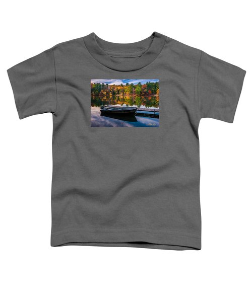 Toddler T-Shirt featuring the photograph Fishing Boat On Mirror Lake by Rikk Flohr