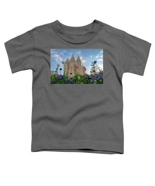 Toddler T-Shirt featuring the photograph Flowers At Temple Square by Dustin  LeFevre
