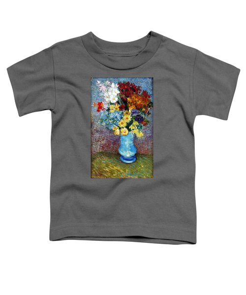 Toddler T-Shirt featuring the painting Flowers In A Blue Vase  by Van Gogh