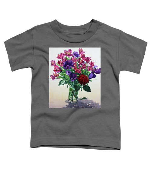 Flowers With Red Rose Toddler T-Shirt