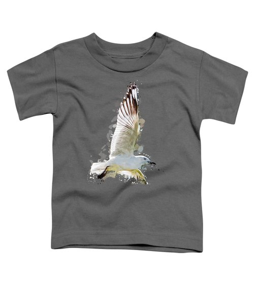 Flying Seagull Abstract Sky Toddler T-Shirt by Elaine Plesser