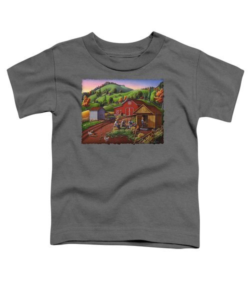Folk Art Americana - Farmers Shucking Harvesting Corn Farm Landscape - Autumn Rural Country Harvest  Toddler T-Shirt