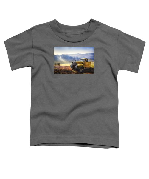 Toddler T-Shirt featuring the photograph Ford In The Fog by Debra and Dave Vanderlaan