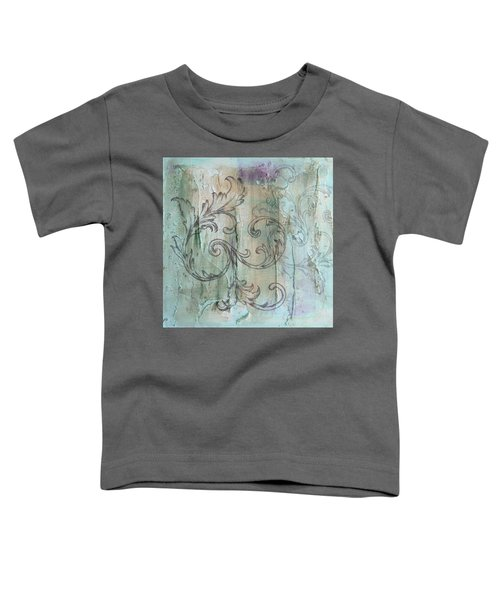 French Country Scroll In Muted Blue Toddler T-Shirt