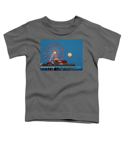 Full Moon Rising Above The Gulf Of Mexico - Historic Pleasure Pier - Galveston Island Texas Toddler T-Shirt