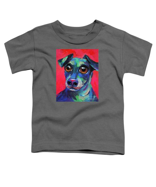 Funny Dachshund Weiner Dog With Intense Eyes Toddler T-Shirt