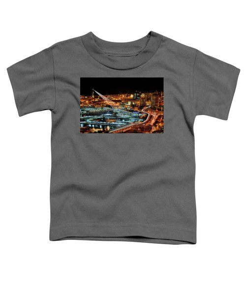 Genoa And The Lighthouse By Night - Genova E La Sua Lanterna  Toddler T-Shirt