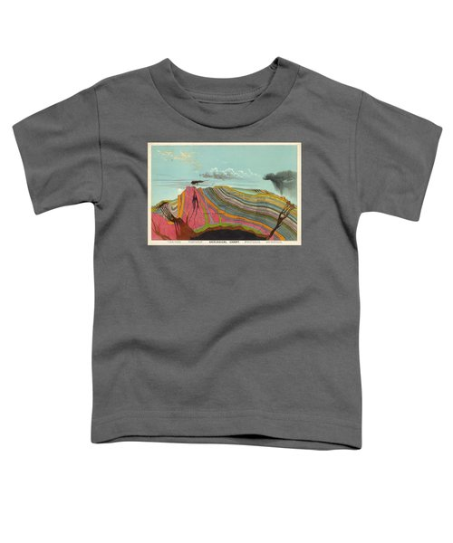 Geological Chart - Cross Section Of The Earth's Crust - Old Illustrated Atlas - Terrestrial Chart Toddler T-Shirt