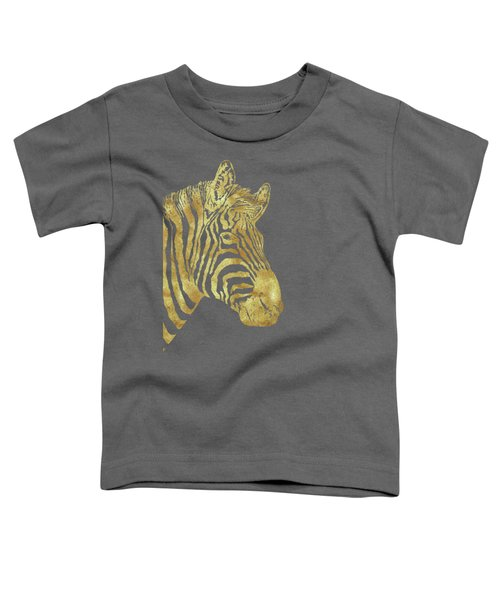 Gilt Zebra, African Wildlife, Wild Animal In Painted Gold Toddler T-Shirt by Tina Lavoie
