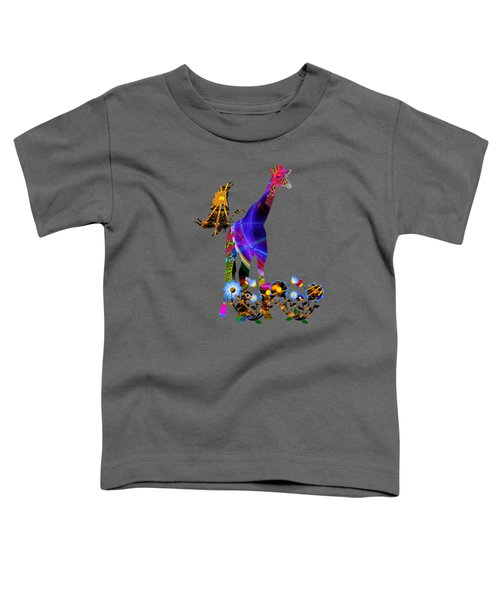 Giraffe And Flowers Toddler T-Shirt