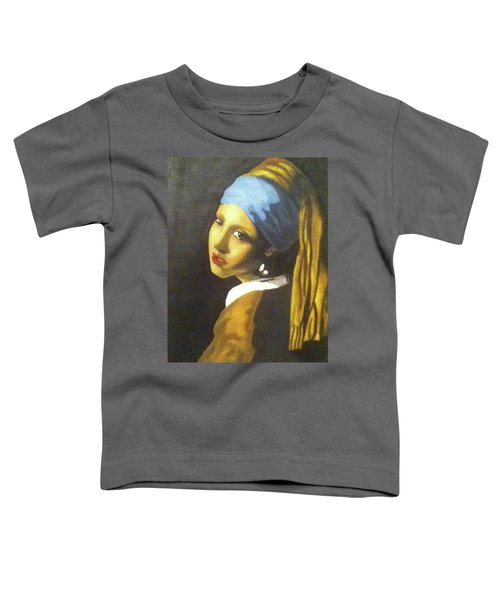 Toddler T-Shirt featuring the painting Girl With Pearl Earring by Jayvon Thomas