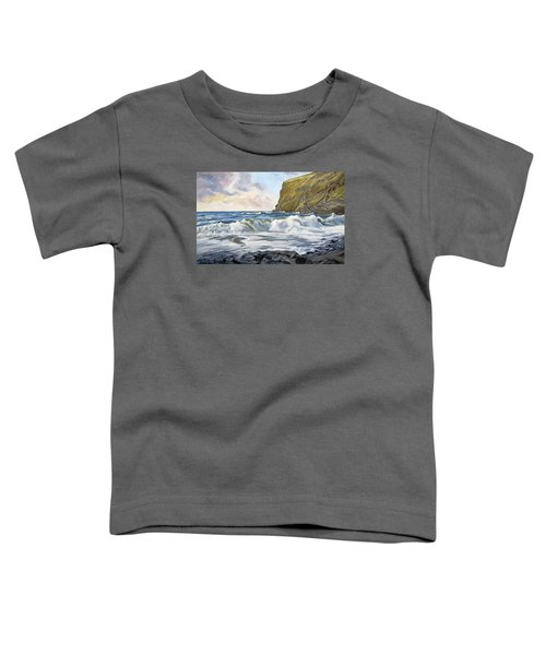 Toddler T-Shirt featuring the painting Glowing Sky At Pencannow Point by Lawrence Dyer